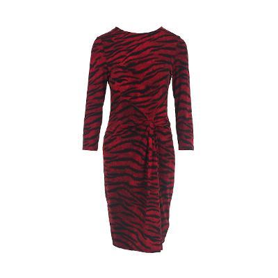 tiger pattern draping detail dress red